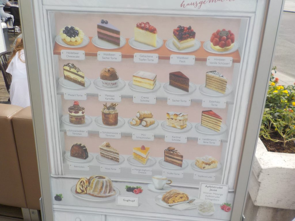 "This picture shows a menu of the various ""Mehlspiesen"" (pastries or desserts) available in a Viennese coffee house."