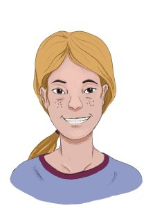 This drawing shows a young feminine person with blond hair in a ponytaiil, light skin, brown eyes, and freckles. She is wearing a lavender and maroon ringer t-shirt.