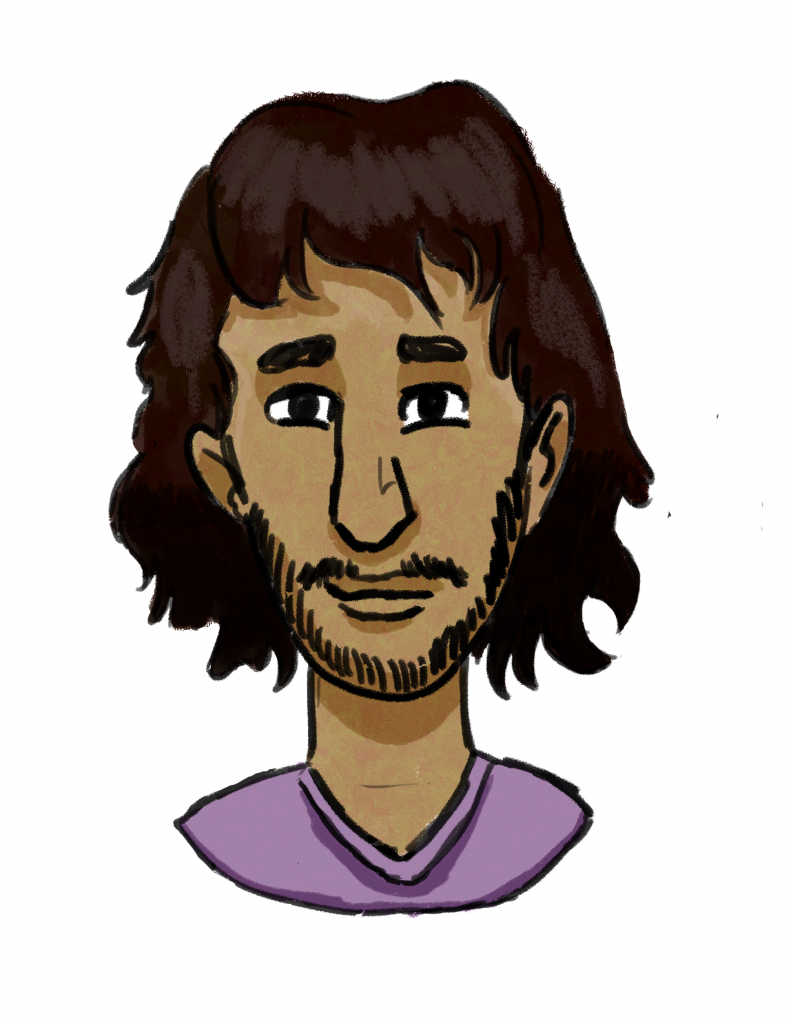 This is a drawing of the character Adan, a masculine person with olive skin, long dark brown hair, dark brown eyes, and short facial hair on his upped lip and chin. He is wearing a lavender shirt.