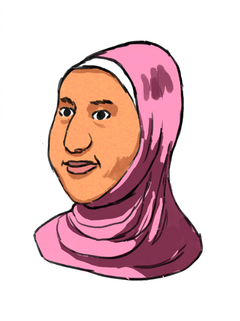 This is a drawing of the character Fatma, a feminine person with dark brown eyes and a half smile. She is wearing a pink head scarf that also covers her neck.