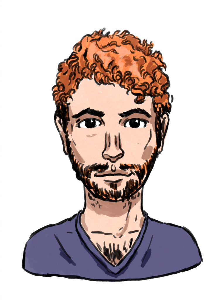 This drawing shows a masculine figure with light skin, curly red hair, brown eyes, some facial hair, and an indigo t-shirt.
