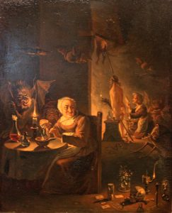 An image of witches and a monster preparing for Walpurgisnacht