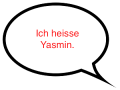 Speech Bubble: Ich heisse Yasmin.