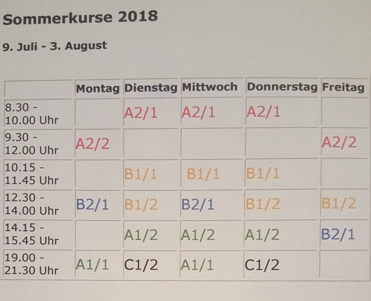 schedule of DaF courses by level