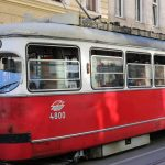red streetcar in vienna