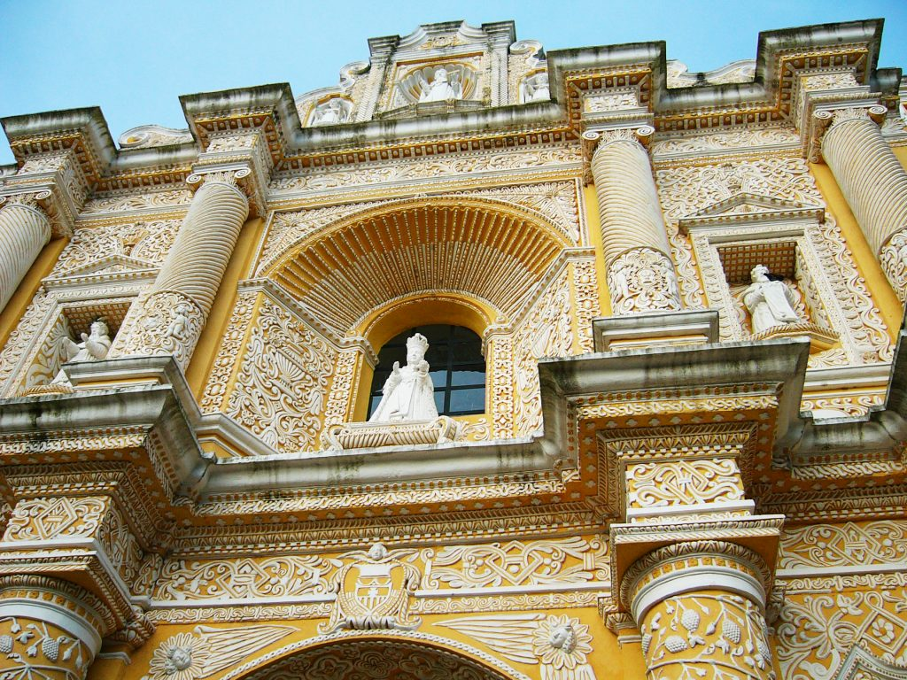 Picture of yellow church in Antigua, Guatemala