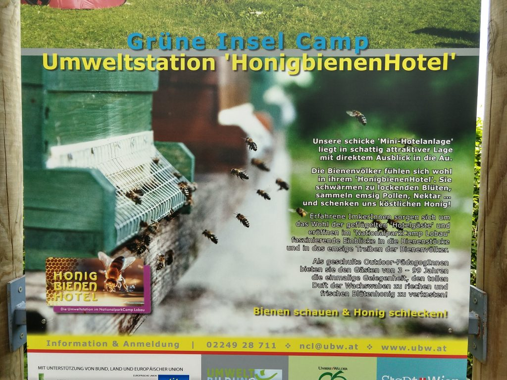 picture of an informational sign about the honeybee hotel